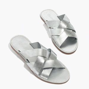 Madewell Silver Boardwalk Woven Slide Sandals